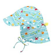 i play. by green sprouts Baby Boys' Toddler Play. Flap Sun Protection Hat, Light Aqua Sea Friends, 2T/4T