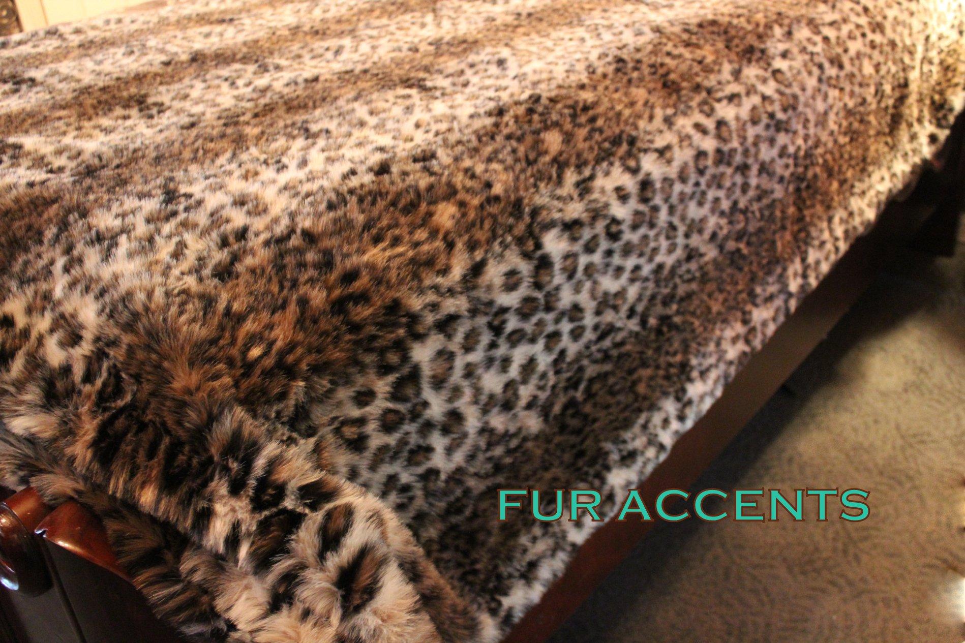 Fur Accents Faux Fur King Size Bedspread / Throw Blanket / Leopard /96'' X 120'' King Size
