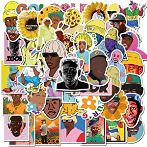 Pop Rapper Tyler Stickers 50PCS for Laptop and Water Bottles,Waterproof Durable Trendy Vinyl Laptop Decal Stickers Pack for Teens, Water Bottles, Computer, Travel Case (Tyler The Creator)