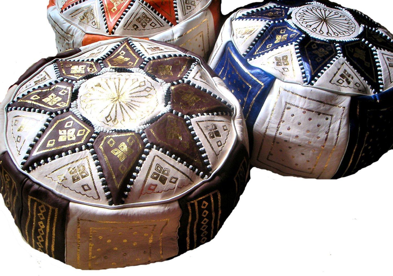 Fair Trade Moroccan Leather Star Pouffe - Choose from 10 Colours (Cream) Laqlib Marrakech