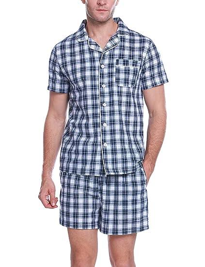 Aibrou Pyjama Hommes Ensemble De Pyjama en Coton T-Shirt Top Manches Courte avec Pantalon 2 PCS