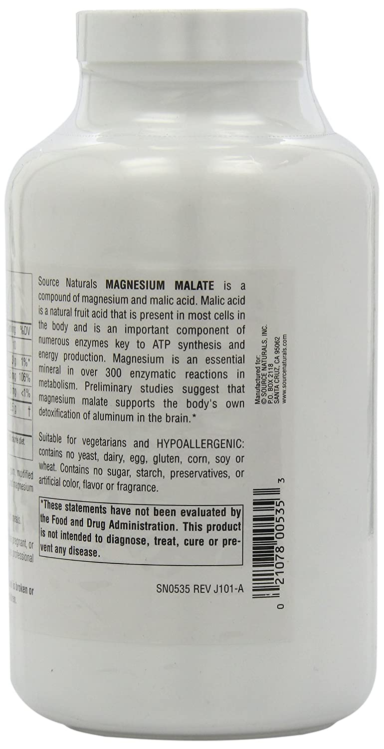 Amazon.com: Magnesium Malate 1250mg Source Naturals, Inc. qpGdvg, 4Pack (180 Tablets): Home & Kitchen