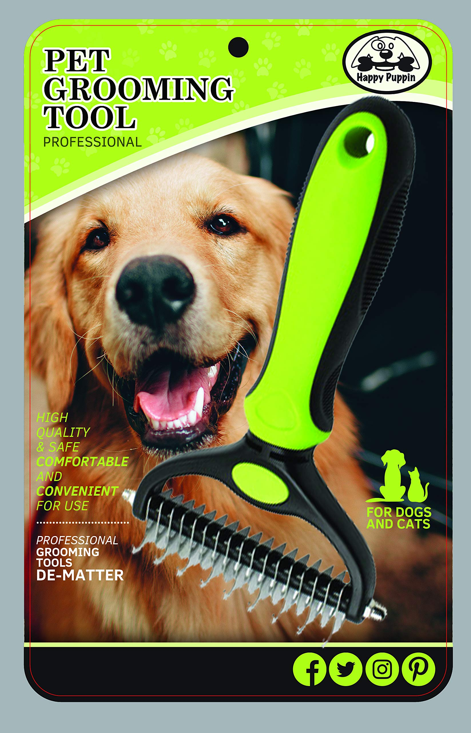 Happy Puppin Professional Double Sided Grooming Tool for Dogs and Cats Reduces Shedding by up to 90% Strong and Durable Handle Comfortable for Your Pet