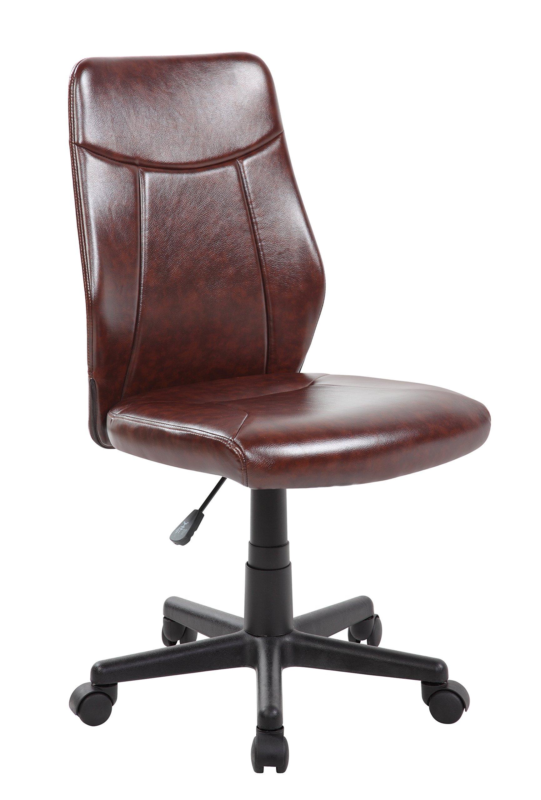 eurosports Mid Back PU Leather Adjustable Desk Office Chair Brown (ES-8039-BR)
