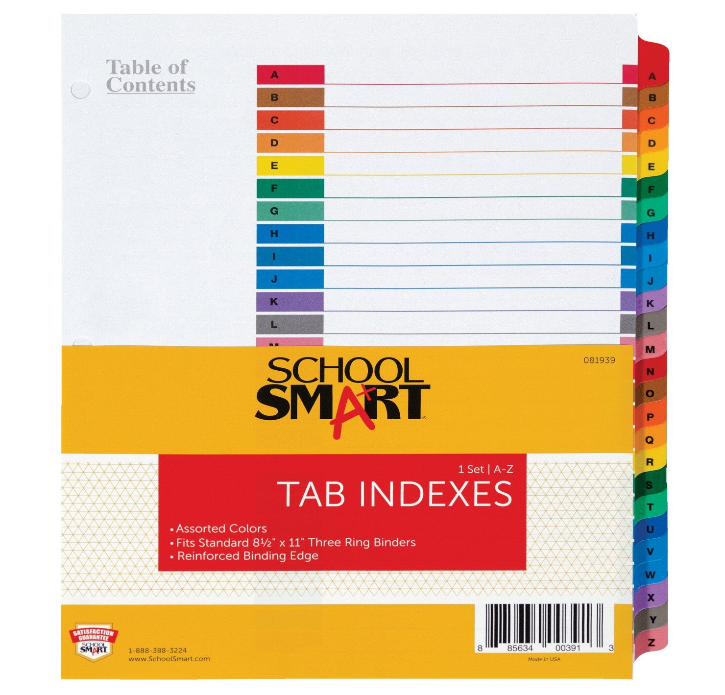 School Smart Insertable Tab Indexes - A-Z Index