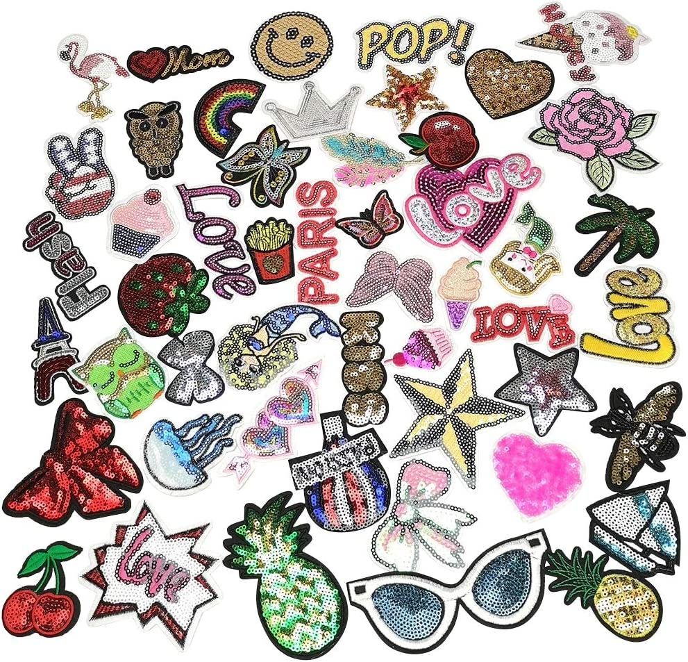 Niangzisewing Mix Lots 50pcs Sequins Iron-on sew-on Patches Dress Plant Backpack Hat Decoration (Sequins Lots, from 2