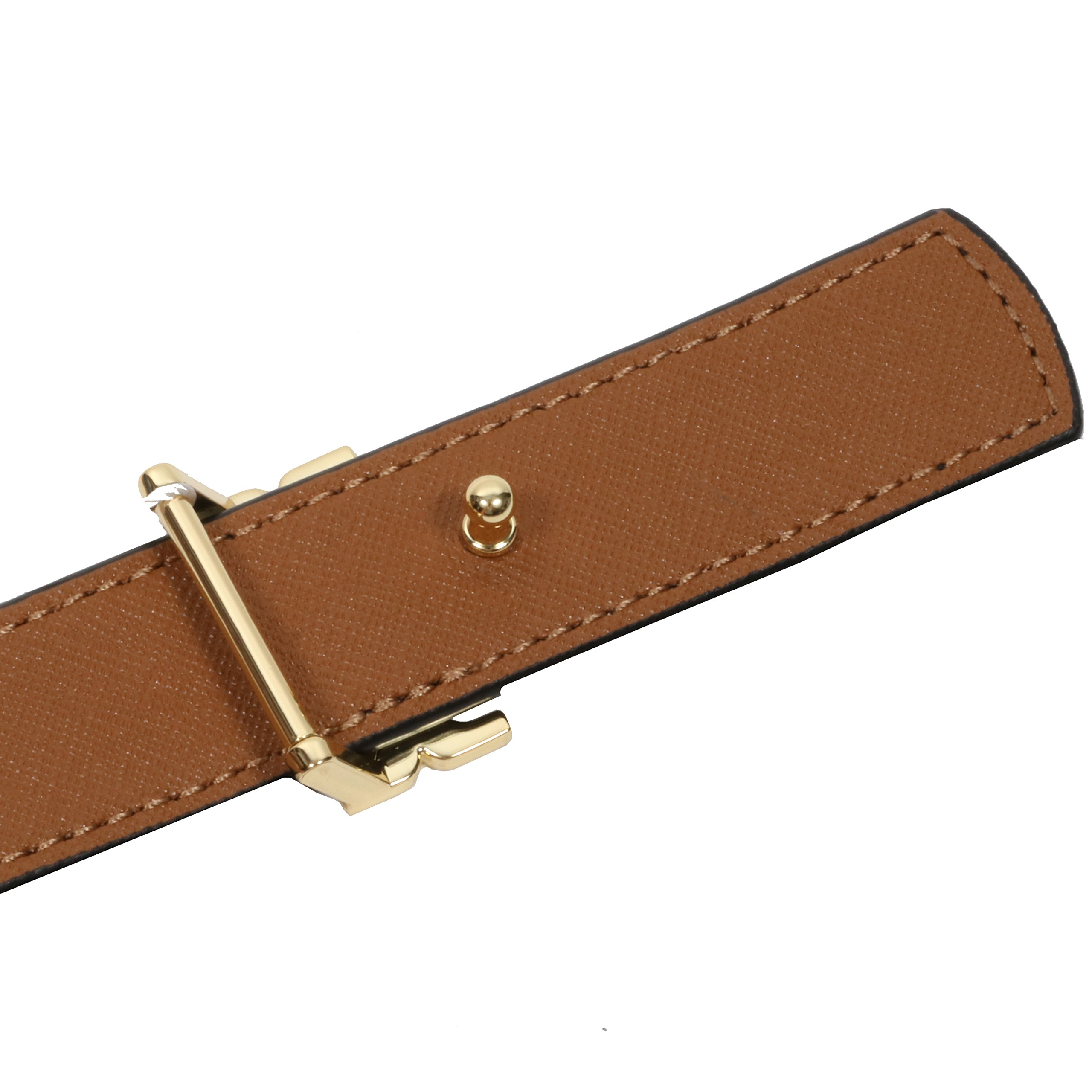 Tory Burch Women's 1'' Genuine Leather Square Logo Buckle Belt Black Brown (Large) by Tory Burch (Image #2)