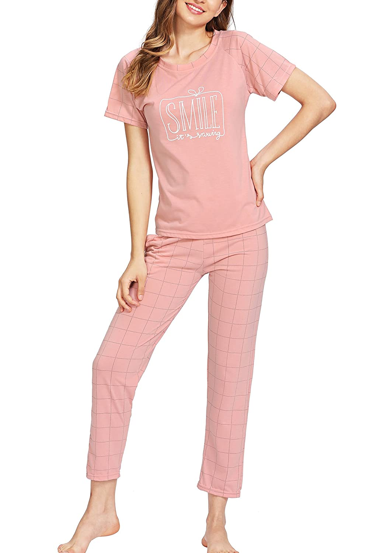 Pink Milumia Women's Cute Round Neck Pattern Print Short Sleeve Tee & Pants Sleepwear Pajama Set