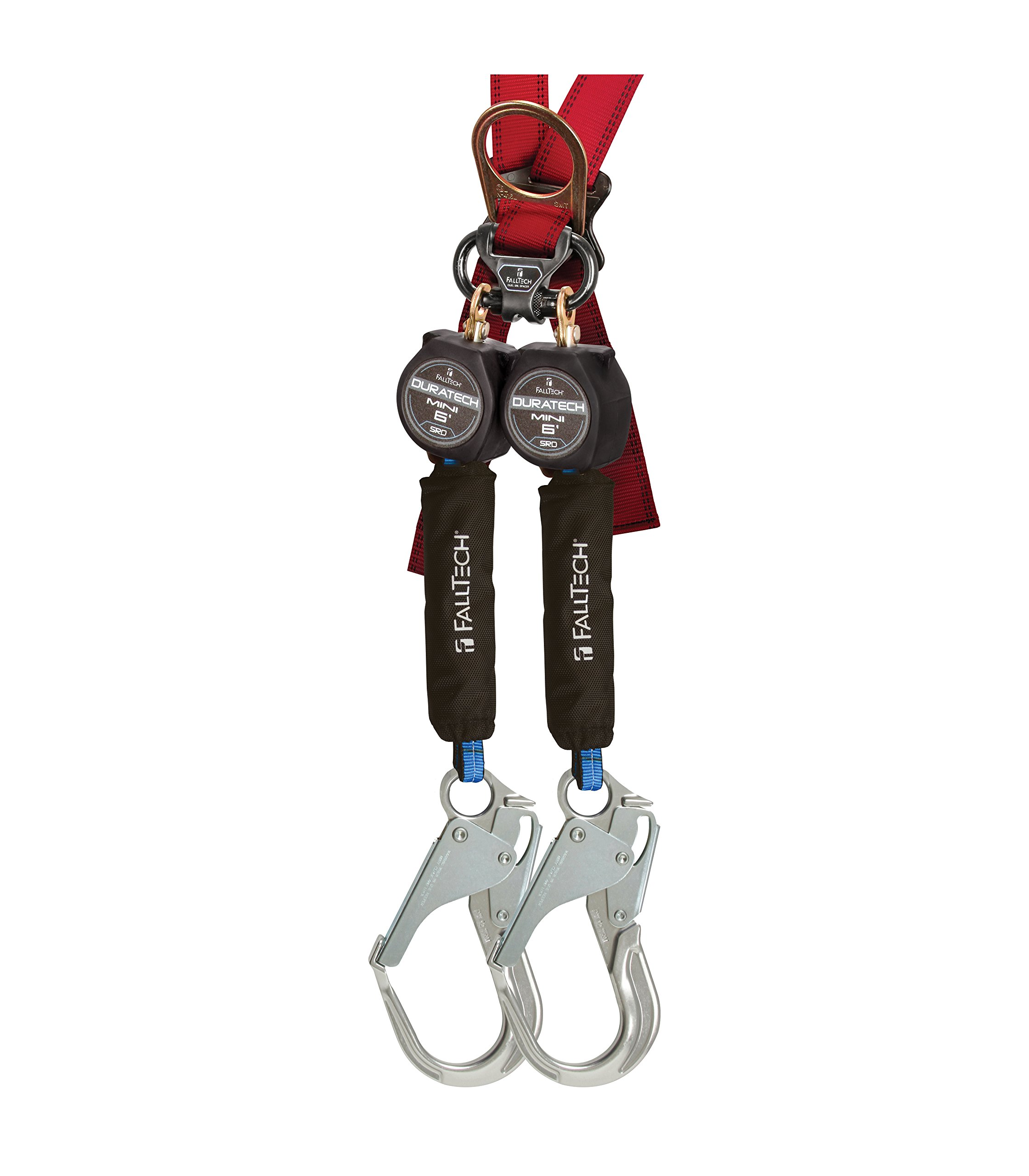 FallTech 72706TB5 MINI DuraTech 6' Compact Web SRL - 6' Mini SRD Twin-Leg Carabiner with Alignment Clip and Aluminum Rebar Hooks, 6', Black (2 Pack)