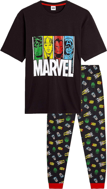 Set Pigiami Cotone Lungo 2 Pezzi 100/% Cotone con Maglietta Supereroi Avengers Captain America Hulk Thor Iron Man E Pantaloni Estivi Marvel Pigiama Uomo Idee Regalo Uomo Compleanno