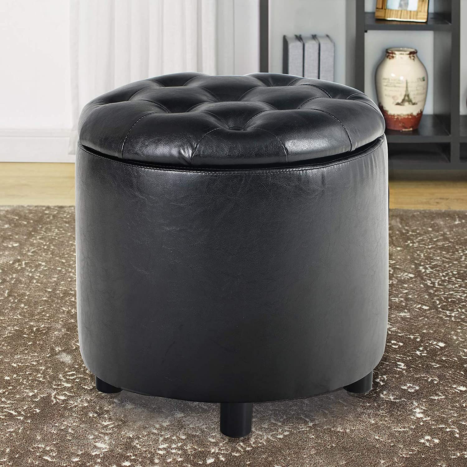 MAISON ARTS Round Storage Ottoman Vanity Stool Tufted Pouf Ottoman Coffee Table Side Table Foot Stool for Living Room Seat Dressing Chair Footrest, 4 Legs, Black