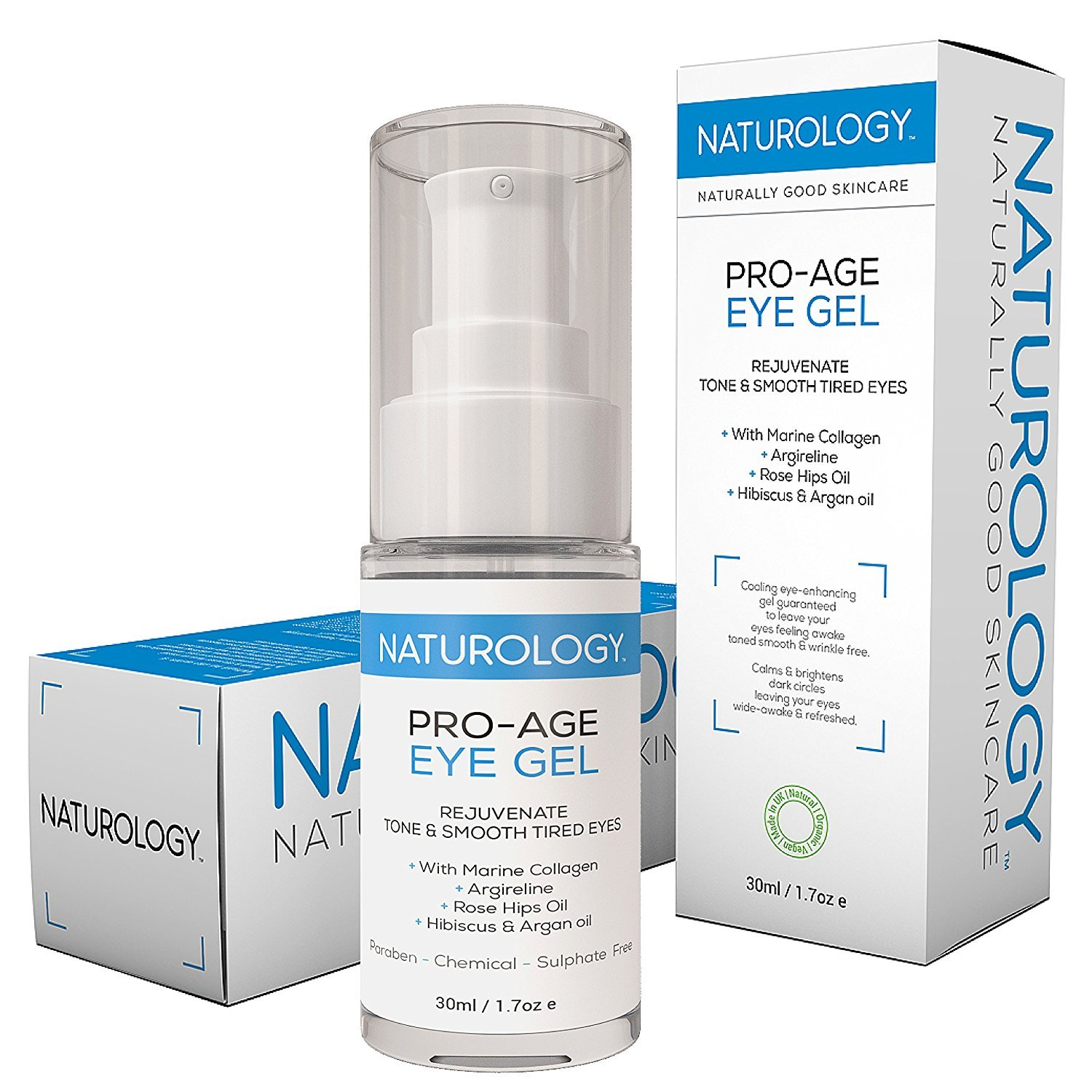 Naturology The UK's Most Natural, Organic Eye Serum for dark circles and wrinkles, reduce your bags & puffy eyes with the best anti aging eye gel that works in a MASSIVE 30ML bottle