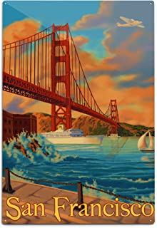 product image for Lantern Press San Francisco, California - Golden Gate Bridge 8515 (6x9 Aluminum Wall Sign, Wall Decor Ready to Hang)