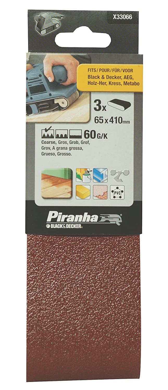 Black+Decker X33066-XJ - 3 Bandas de lija. 65 x 410 mm.Grano 60. Madera, pintura, barniz, yeso, metal y plá stico. Larga Duració n. metal y plástico. Larga Duración. Black&Decker