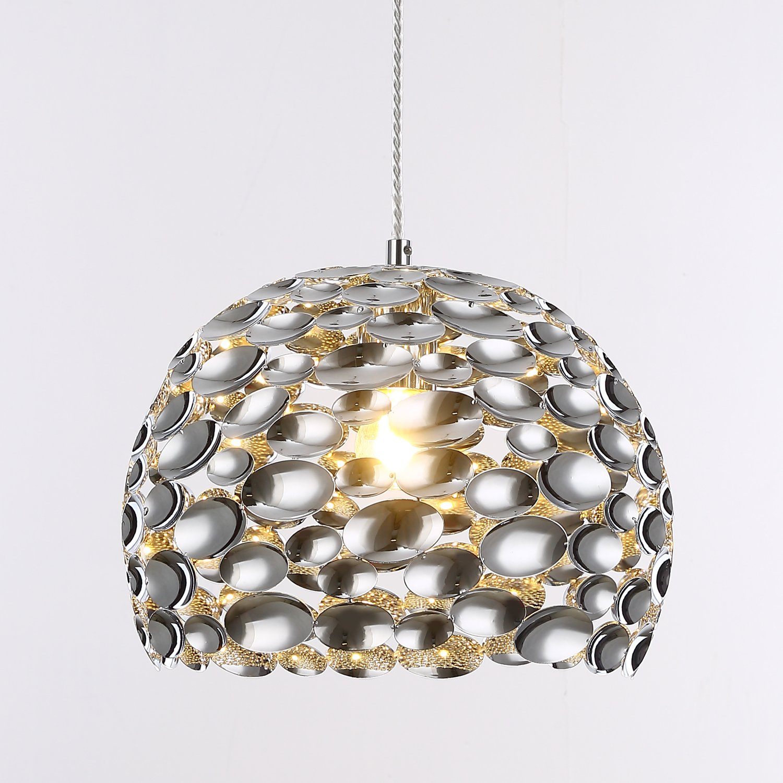 "SPARKSOR 12"" Pendant Lamp, Modern Creative Design Metal Chrome Sheets Pendant Light, Flush Mount Ceiling Light Hanging Lamp, Hanging Light Fixture Suitable for Kitchen Island, Dining Room Table"