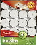Bolsius–Velas de té, para interiores y exteriores, 4horas de duración, 16x 38mm, 60unidades, color blanco
