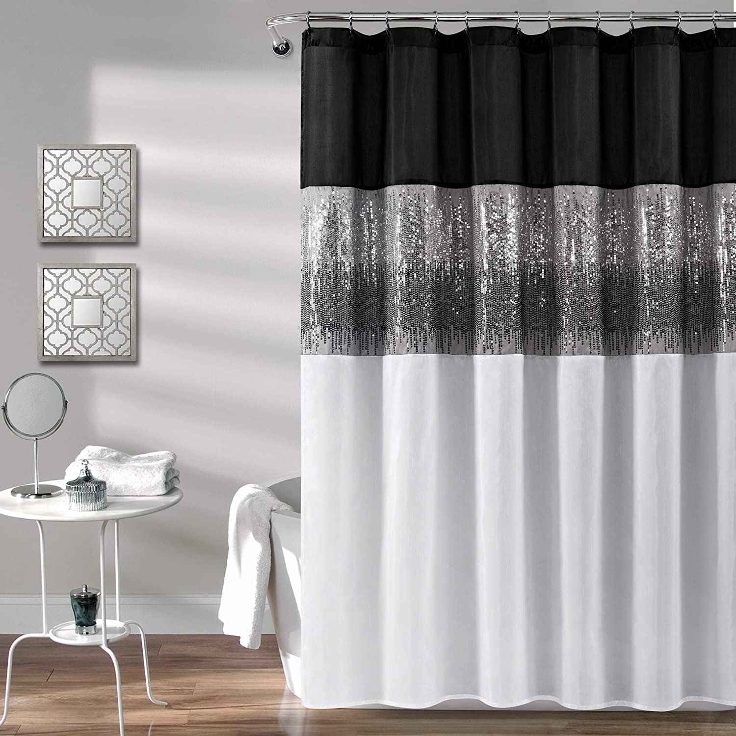 Lush Decor, Black and White Night Sky Shower Curtain | Sequin Fabric Shimmery Color Block Design for Bathroom, x 72
