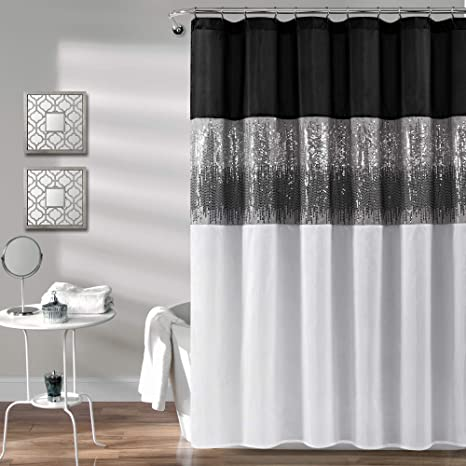 Lush Decor Black And White Night Sky Shower Curtain Sequin Fabric Shimmery Color Block Design For Bathroom 72 X 72 Home Kitchen
