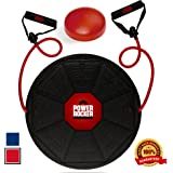 Power Rocker Balance Board - Premium Wobble Board - Adjustable Height - Bonus Resistance Tube Set - Complete Stability & Core Training - Physical Therapy and Injury Rehabilitation - Red