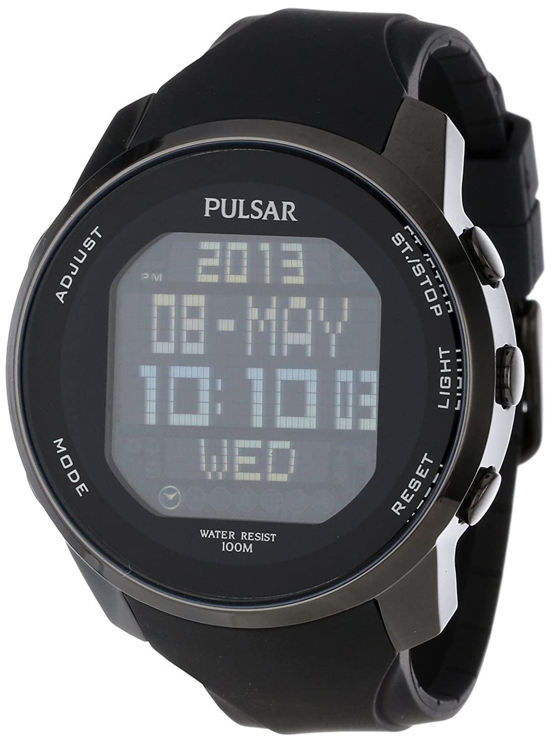Amazon Pulsar Mens Pq2011 Stainless Steel Digital Watch With