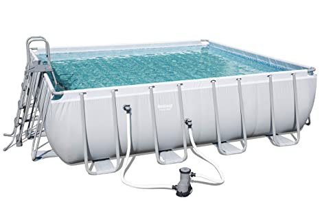 Bestway - Set de Piscina Cuadrada con Estructura de Acero Power Steel Square Frame Pool,