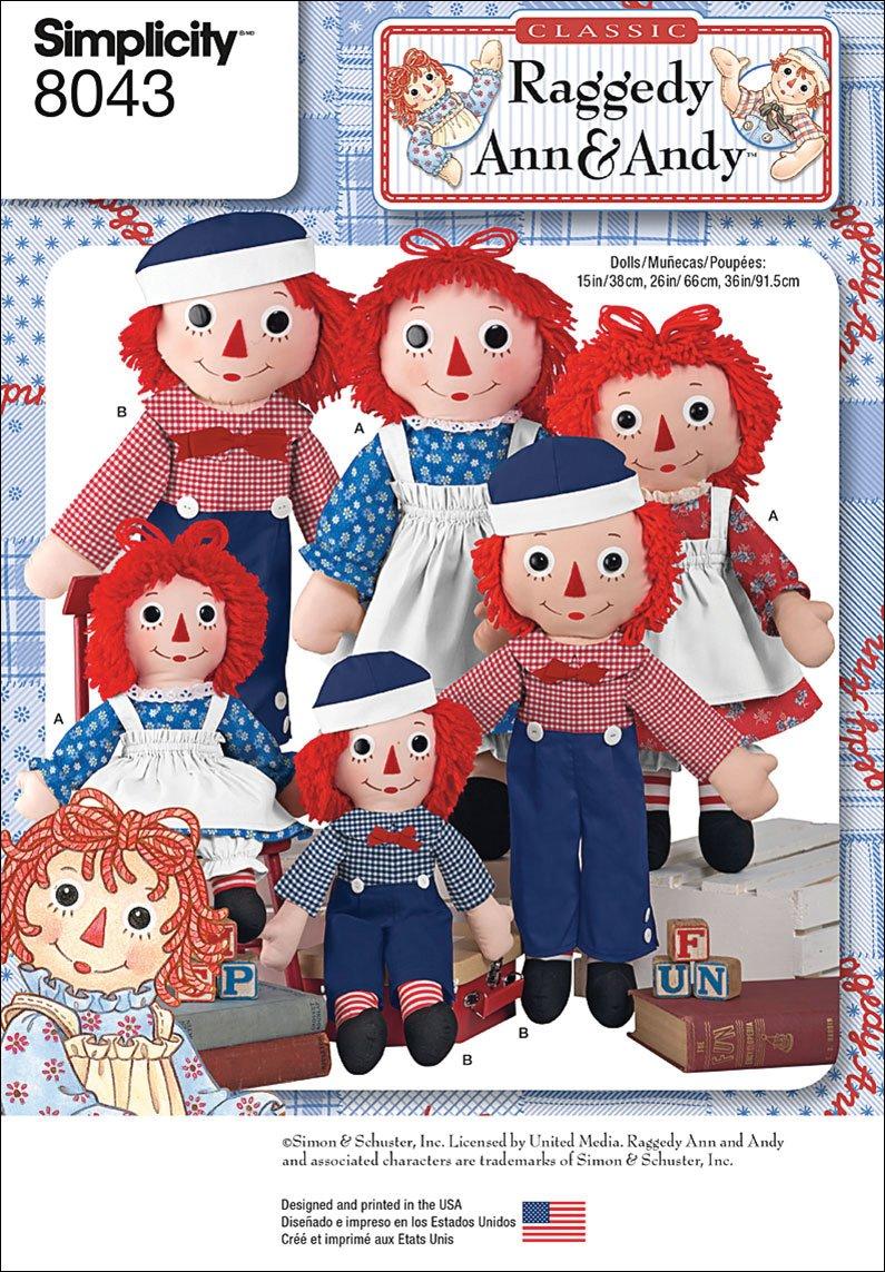amazon com simplicity patterns raggedy ann u0026 andy dolls size os