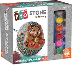 MindWare Paint Your Own Stone Hedgehog - Fun Outdoor Decor and Garden Crafts for Kids