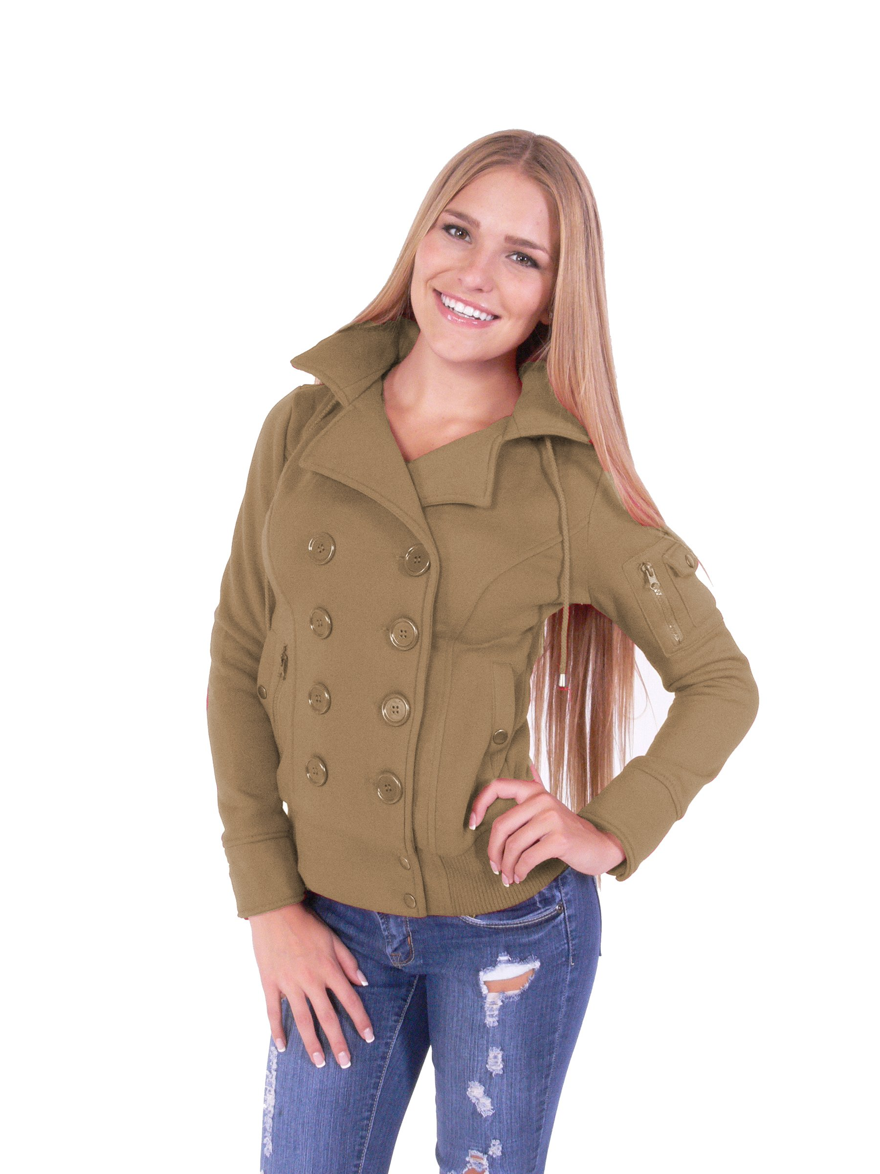 Fleece Double Breast Bomber Coat with Hoodie Jacket Four Buttons Style (S, Camel)