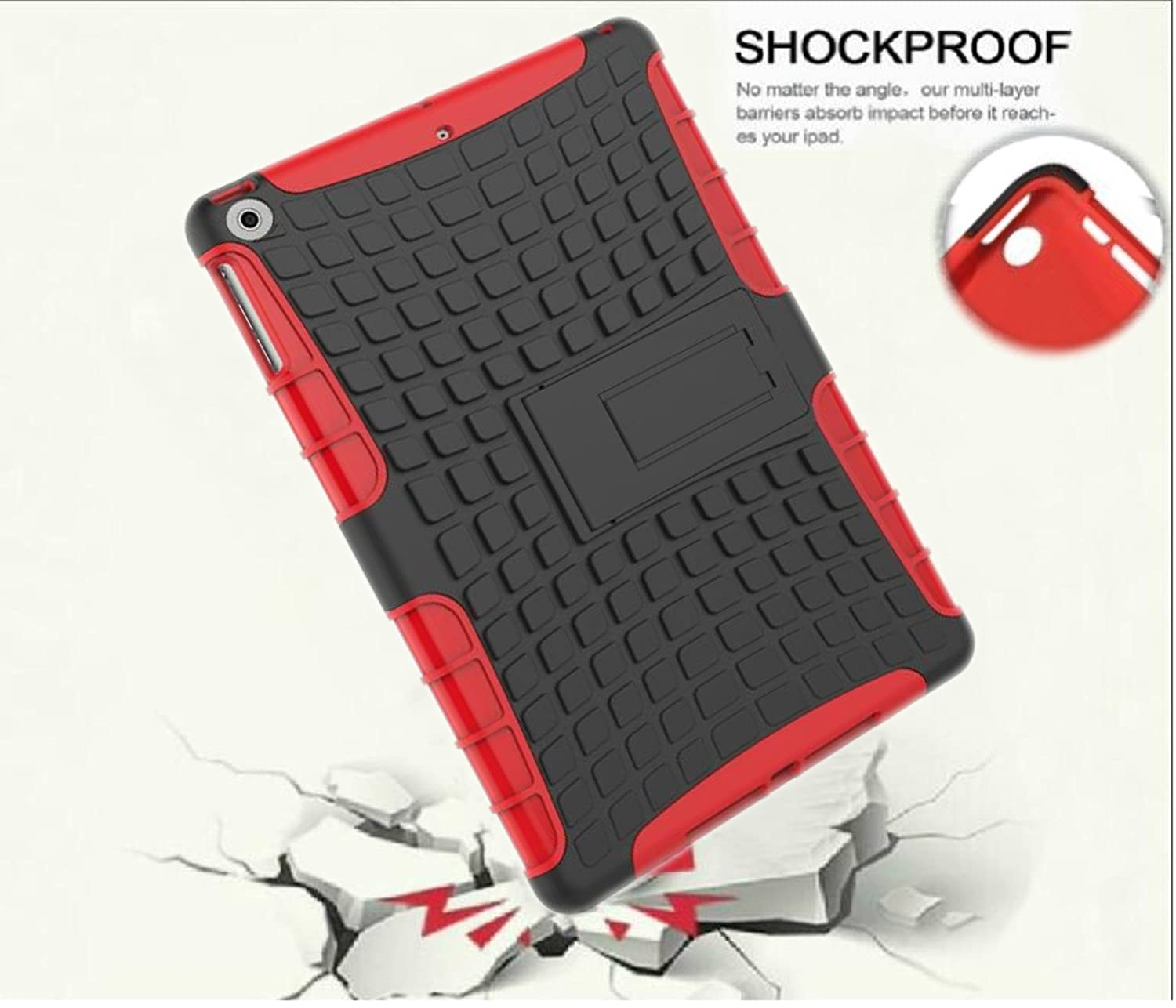 Protective Heavy Duty Tough 3 In 1 TPU PC Design Holder Case Cover For Apple ipad 2nd 3rd 4th Generation Model A1395 A1396 A1397 A1416 A1430 A1403 A1458 A1460 A1459 16GB 32GB 64GB Black//Black