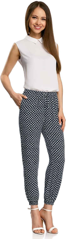 oodji Ultra Donna Pantaloni Leggeri in Viscosa con Cintura Elasticizzata