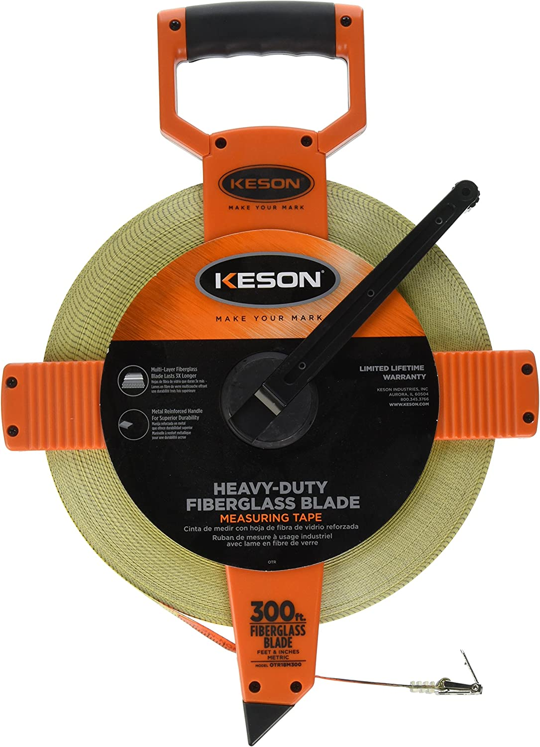 "Orange//Black Tape Measure 1//2/"" Blade CRESCENT LUFKIN FE300 300 ft"