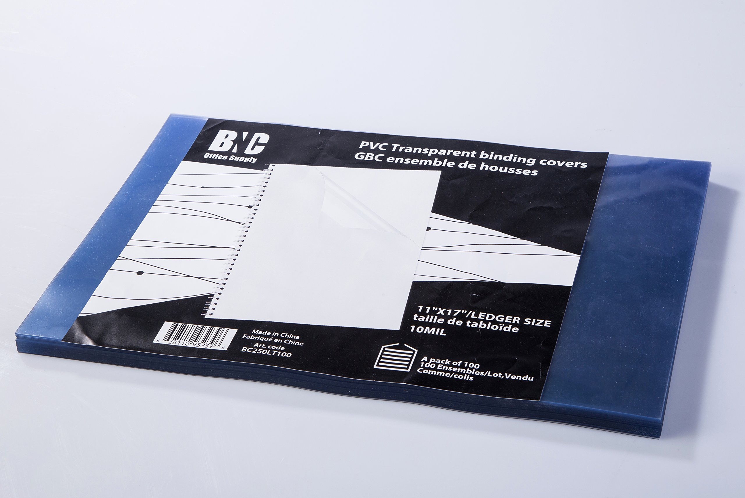 BNC 10 Mil 11X17 Inches, Ledger Size PVC Binding Covers - Pack of 100, Clear (BC250LT100) by BNC Office Supply (Image #2)