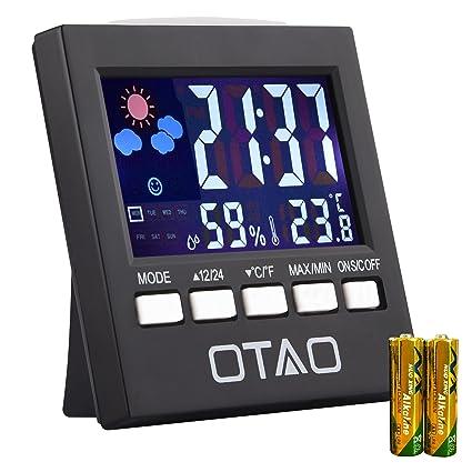 OTAO higrómetro Digital de interior termómetro humedad Monitor con retroiluminación Jumbo pantalla táctil y con indicador