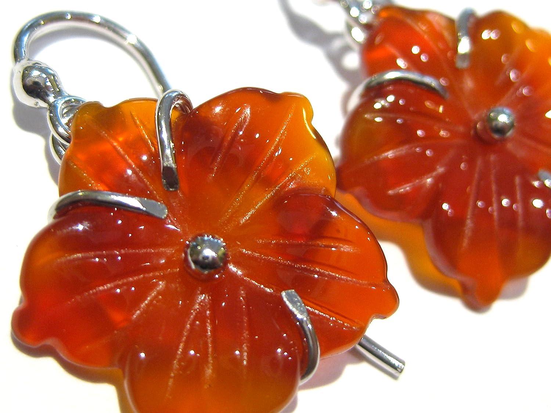 pendientes Cornalina flor rojo