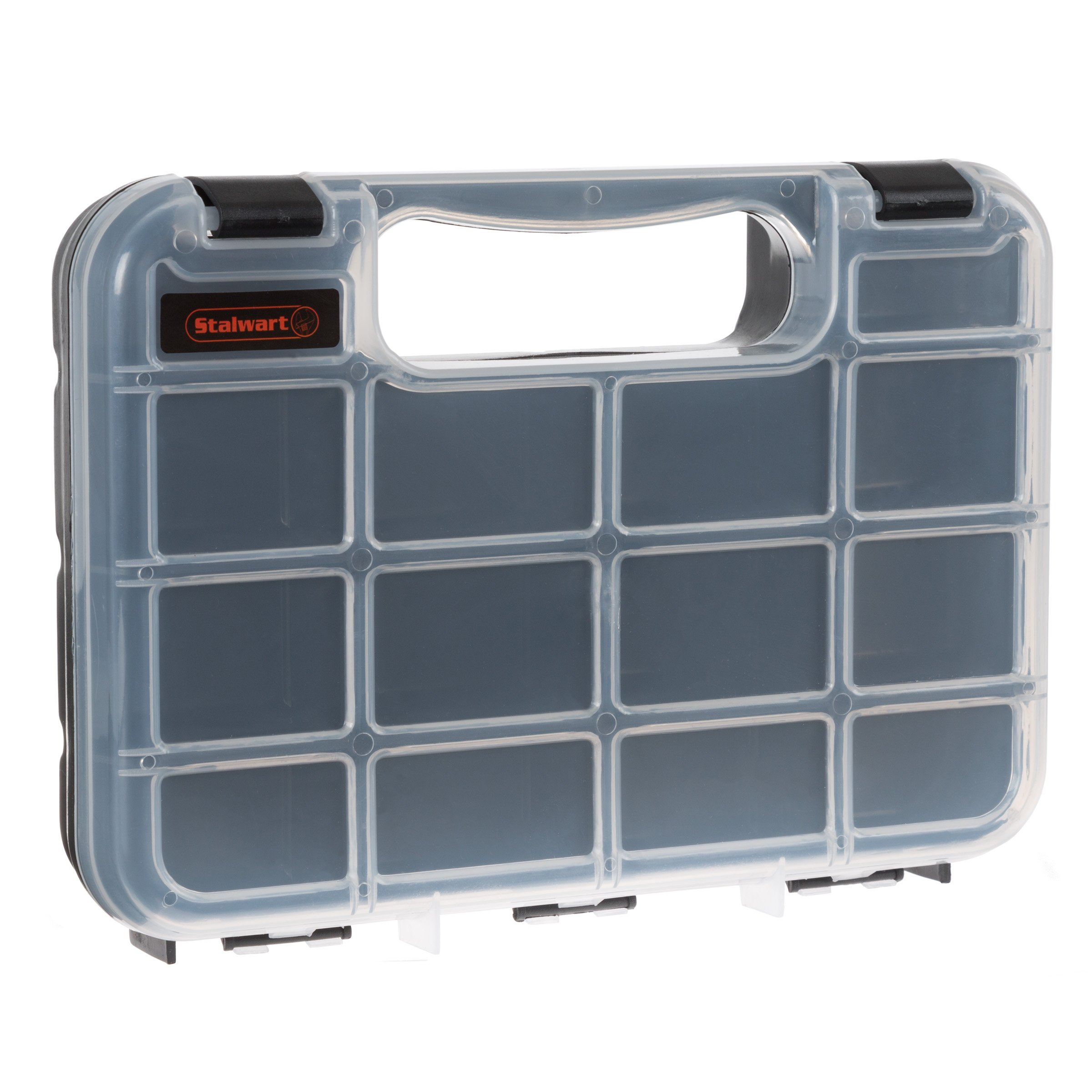 Portable Storage Case with Secure Locks and 17 Compartments with Removable Dividers for Hardware, Screws, Nails, Beads, Jewelry and More by Stalwart