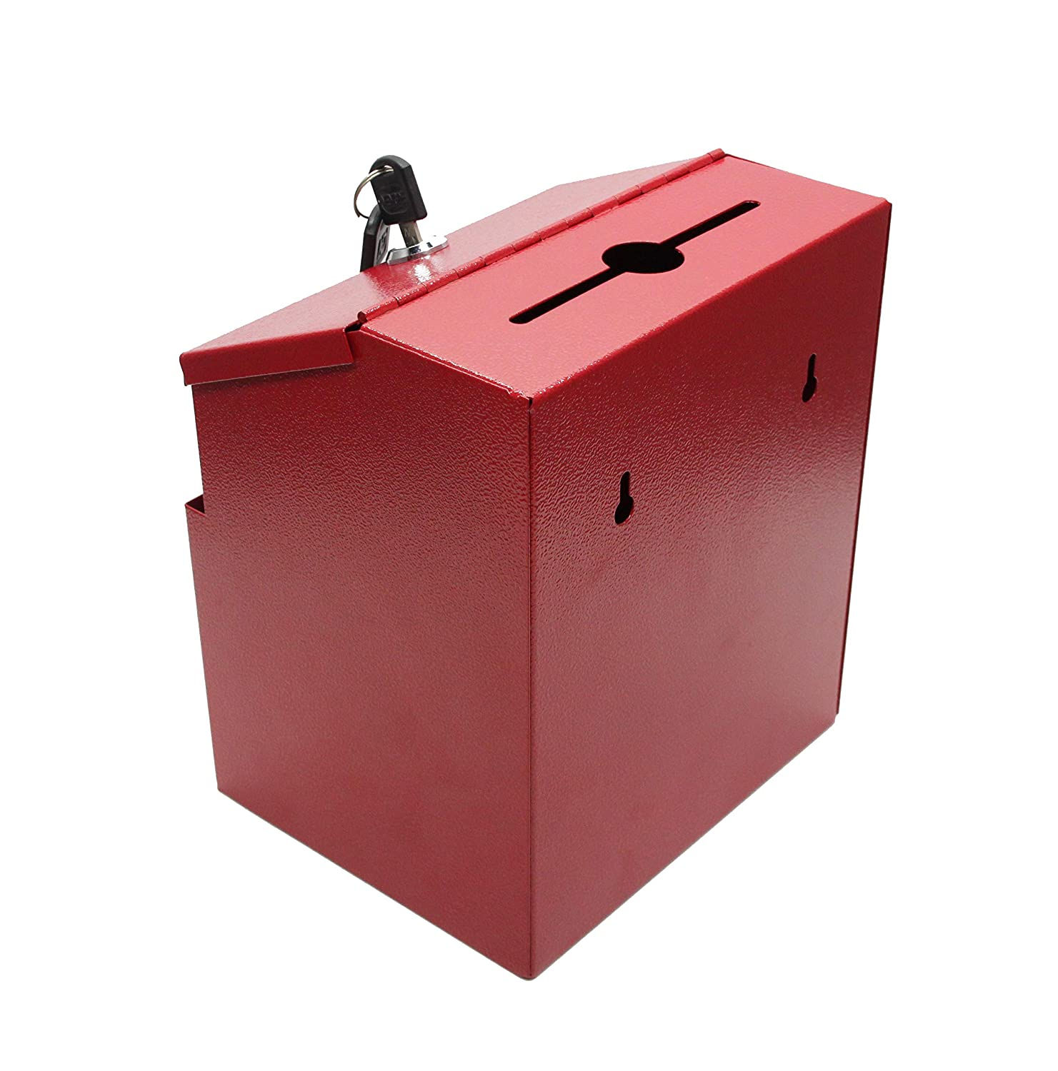 FixtureDisplays Red Suggestion Metal Donation Key Drop Box Express Checkout Comments sales lead box 11118-RED-FBA