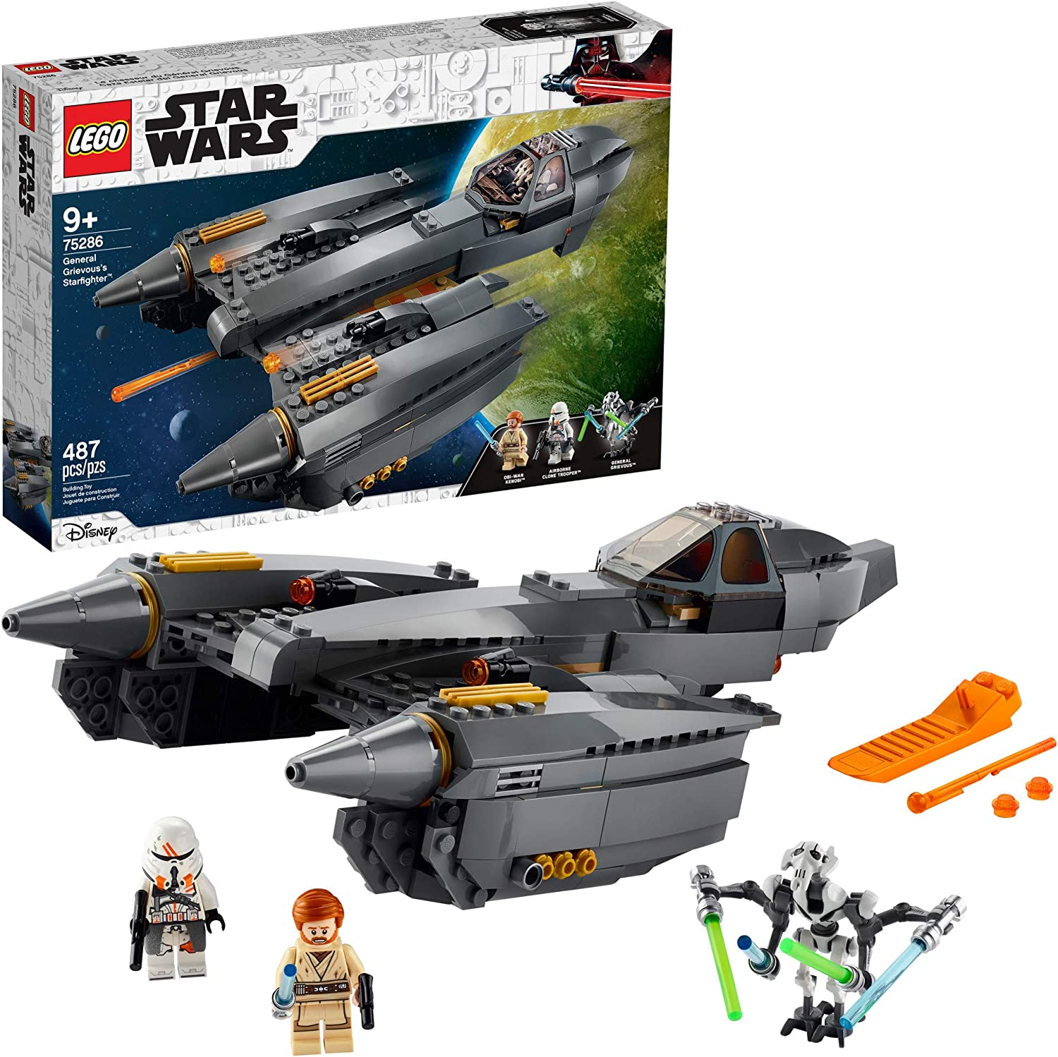 Amazon Com Lego Star Wars Revenge Of The Sith General Grievous S Starfighter 75286 Spacecraft Set With General Grievous Obi Wan Kenobi And Airborne Clone Trooper Minifigures New 2020 487 Pieces Toys Games