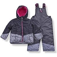 Arctic Quest Infant & Toddler Girls Puffer Ski Jacket and Snowbib Snowsuit Set