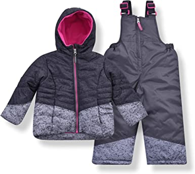 Arctic Quest Infant /& Toddler Girls Puffer Jacket with Fleece Lining and Snow Bib Pants Set
