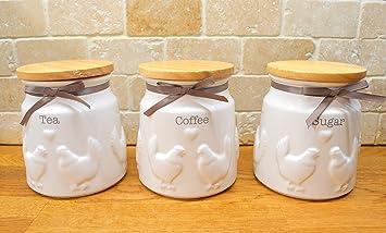 Set di 3 barattoli da cucina Country galline in ceramica per tè ...