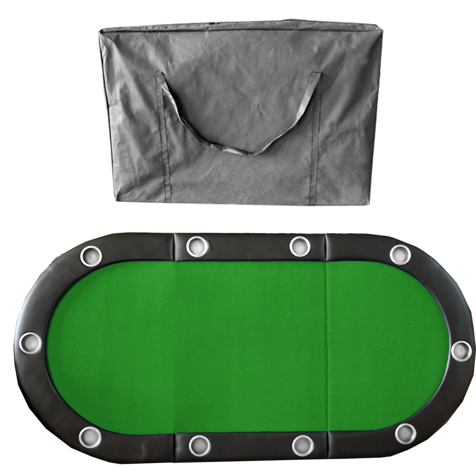 84'' 10 Player Texas Hold'em Folding Poker Table Top Green with Carrying Bag