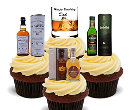 Happy Birthday Dad Whisky Lover Edible Cake Decorations