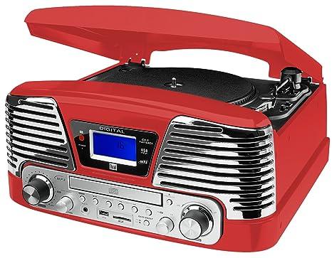 Dual NR 6 - Tocadiscos con radio UKW (USB, reproducción de CD y MP3), rojo