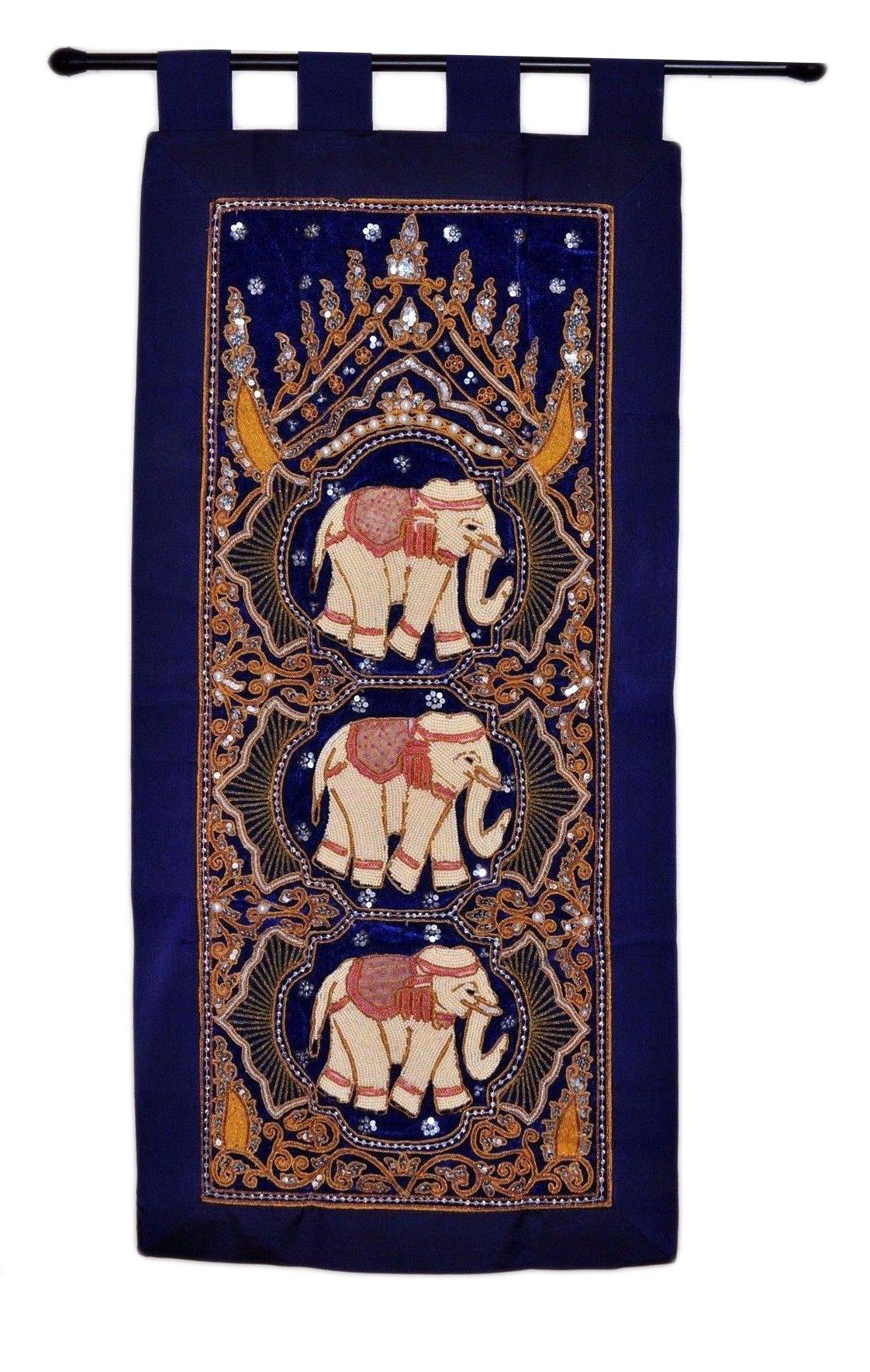 kalaga wall hanging-thai wall decor-burma wall hanging 3 elephant- Tapestries - Blue Decoration USA Seller by Decorinhome