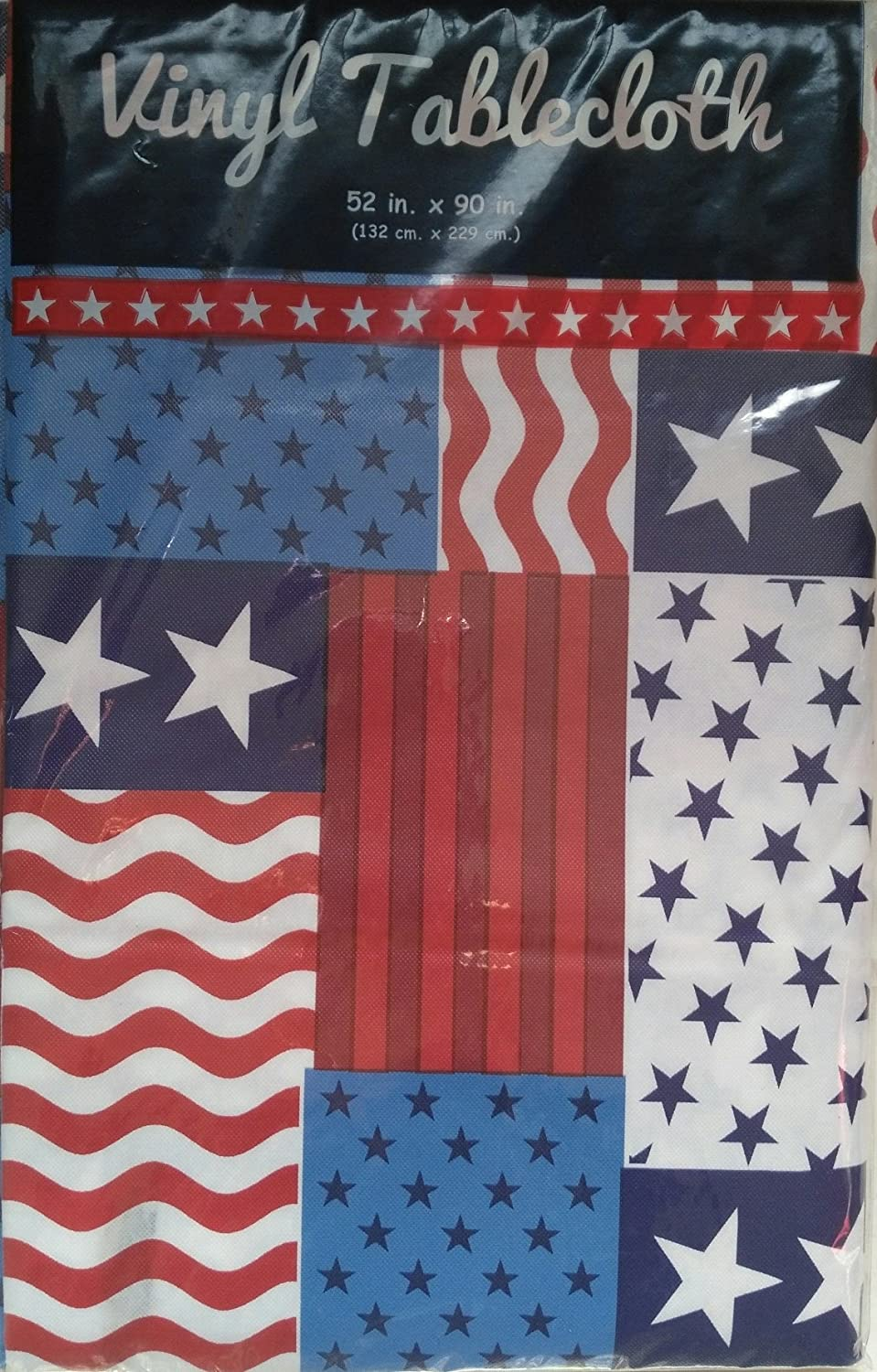 amazon com patriotic flag patchwork vinyl tablecloth with flannel