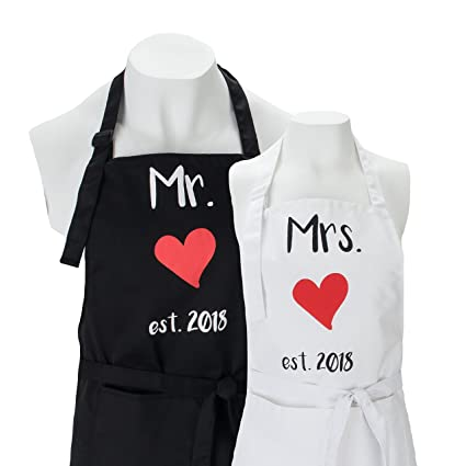 Amazon.com: Mr. and Mrs. Aprons est. 2018 Gift Box Included - His ...
