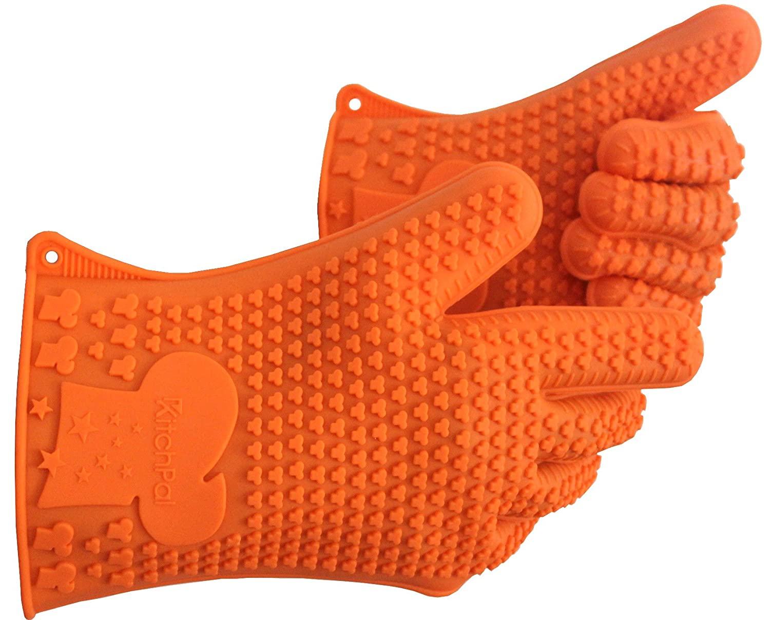 Heat Resistant Silicone Oven Mitts, Cooking Gloves, Pot Holder, BBQ Gloves for Barbeque, Grilling, Baking, Frying, Smoking, Unique design for best protection and grip