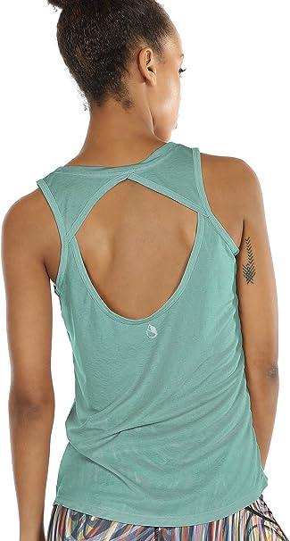 Amazon.com: icyzone - Camiseta de yoga para mujer, espalda ...