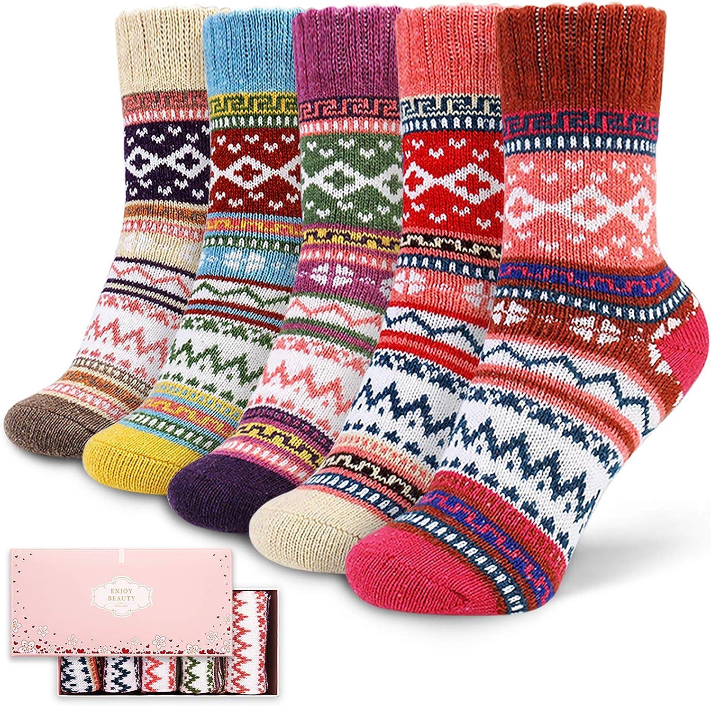 Socks Women, ICEIVY Soft Knit Wool Winter Thick Warm Cabin Fuzzy Crew Women Socks 5 Pack