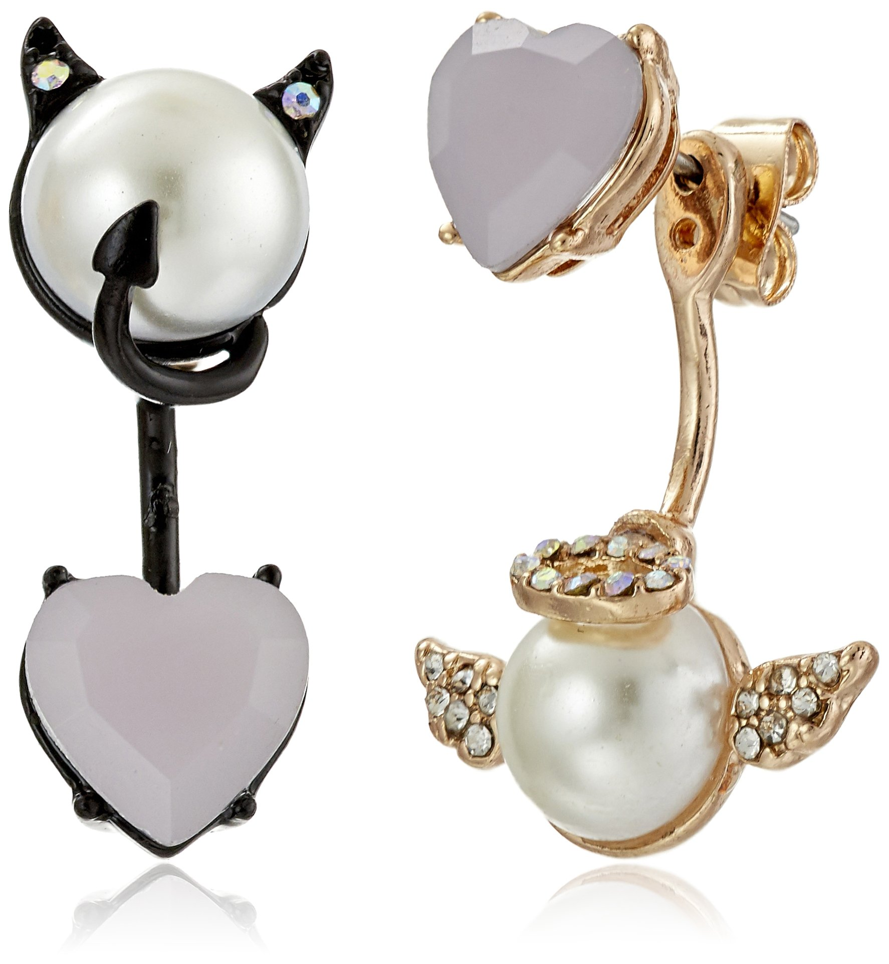 Betsey Johnson Pearl Critters Angel and Devil Mismatch Front/Back Earrings Jackets